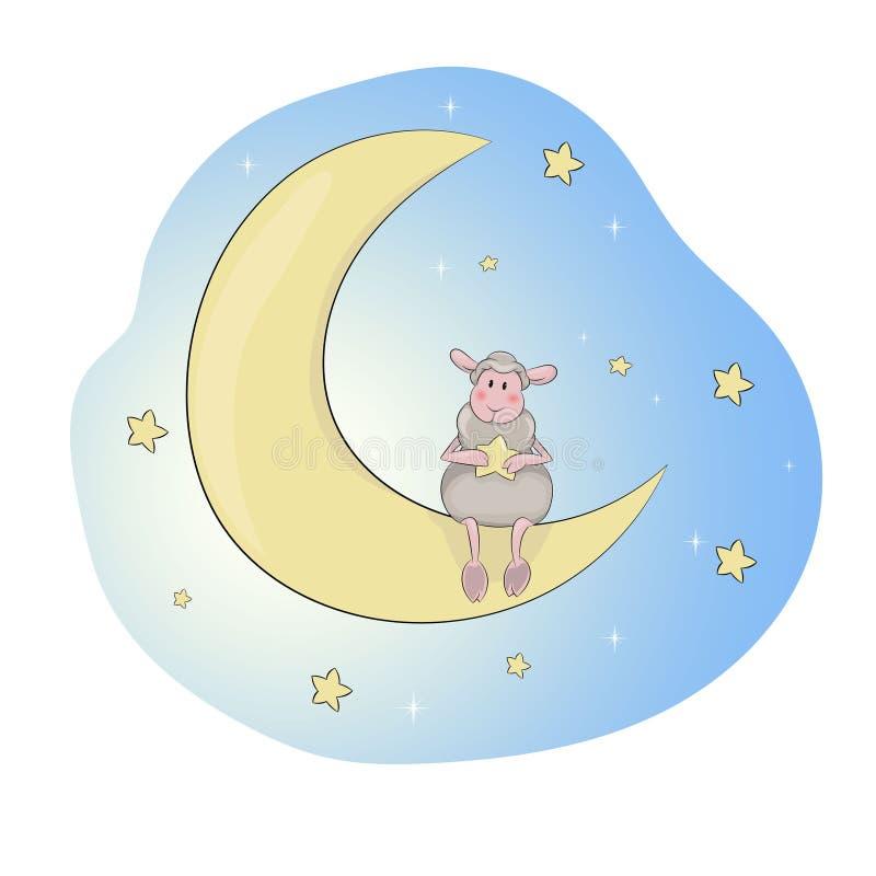 Een klein lam op de maan stock illustratie