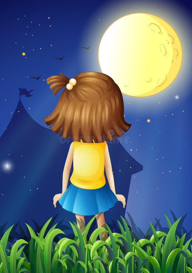 Een klein meisje die heldere fullmoon onder ogen zien stock illustratie