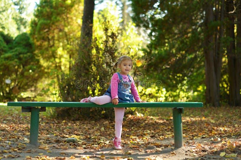 Een klein meisje loopt in een bospark in de warme herfst stock afbeelding