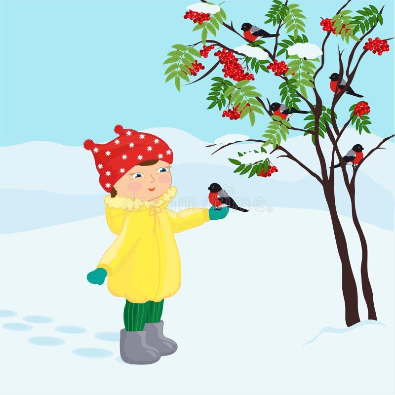 Een klein meisje met een vogel op haar palm royalty-vrije illustratie