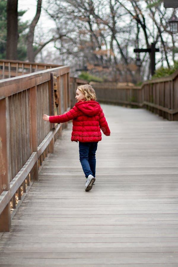 Een klein meisje in een rood jasje loopt onderaan de weg wat betreft de omheining royalty-vrije stock afbeelding