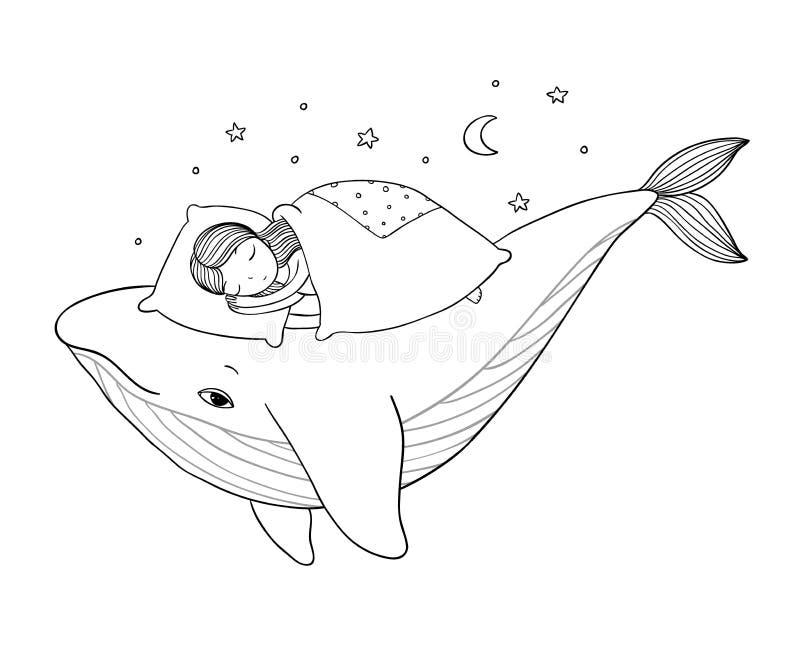 Een klein meisje slaapt op een walvis Comfortabel bed Overzees Thema Handtekening geïsoleerde voorwerpen op witte achtergrond vector illustratie