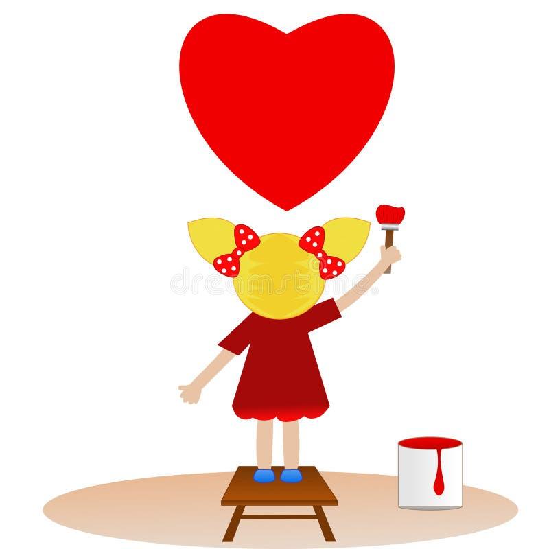 Een klein meisje trekt op hemel rood hart vector illustratie