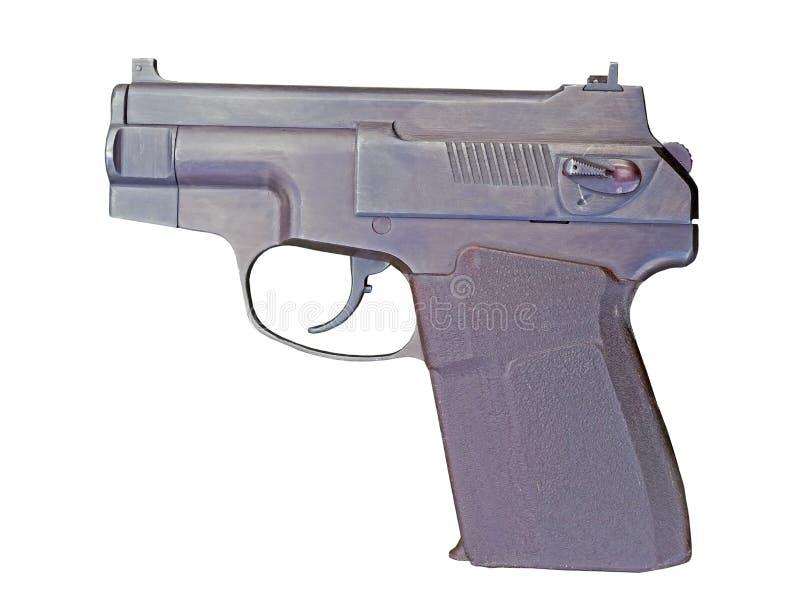 Een klein modern pistool op een wit stock foto