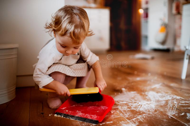 Een klein peutermeisje met borstel en blik vegende vloer in de keuken thuis stock afbeeldingen