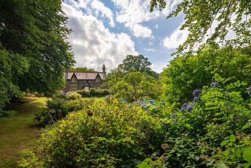 Een klein steenplattelandshuisje in weelderige vegetatie, Wales stock fotografie