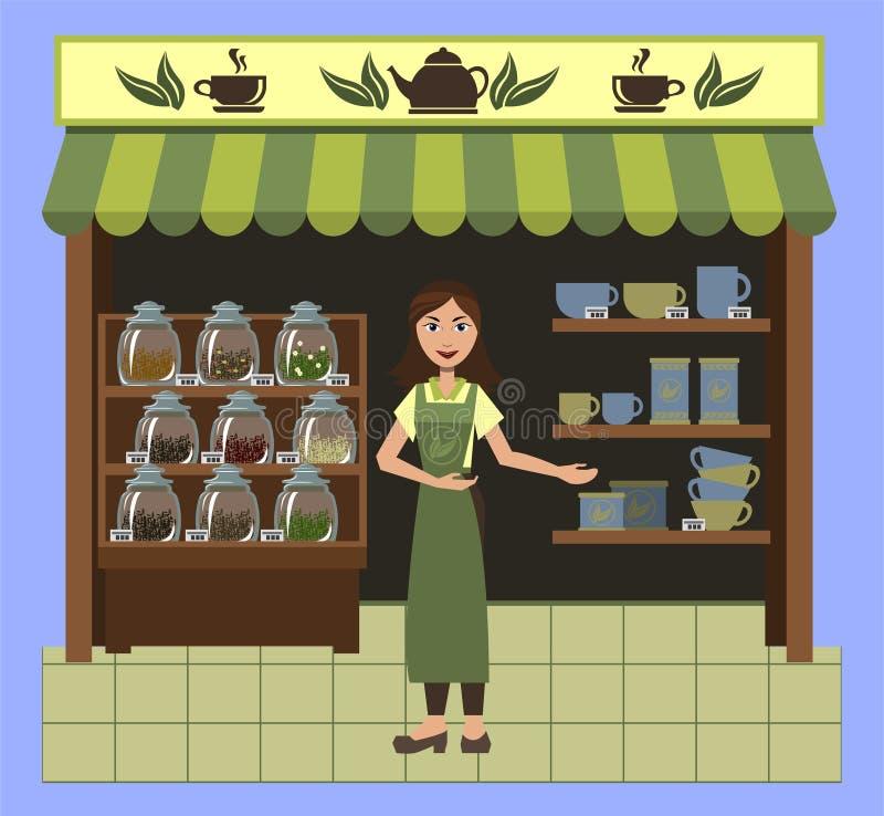 Een klein winkel verkopend thee en een vaatwerk voor thee met een leuke verkoopster royalty-vrije illustratie