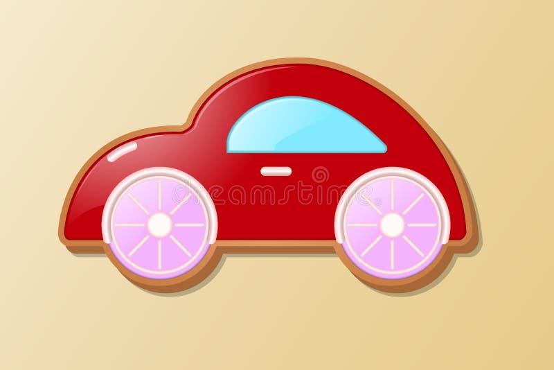 Een kleine babyschrijfmachine in de vorm van een koekje op een heldere achtergrond en met oranje wielen vector illustratie