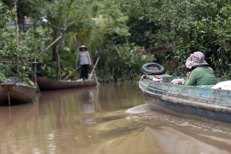 Een kleine boot op de Mekong rivier, Vietnam royalty-vrije stock fotografie