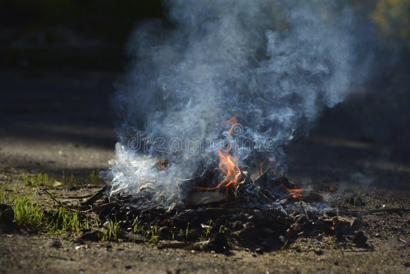 Een kleine brand op het asfalt Verlichting van vuren stock foto