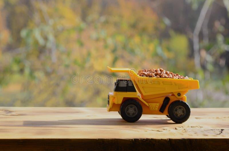 Een kleine gele stuk speelgoed vrachtwagen wordt geladen met bruine korrels van boekweit Een auto op een houten oppervlakte tegen royalty-vrije stock foto