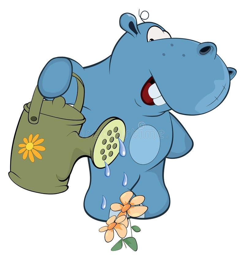 Een kleine hippo-tuinman beeldverhaal vector illustratie