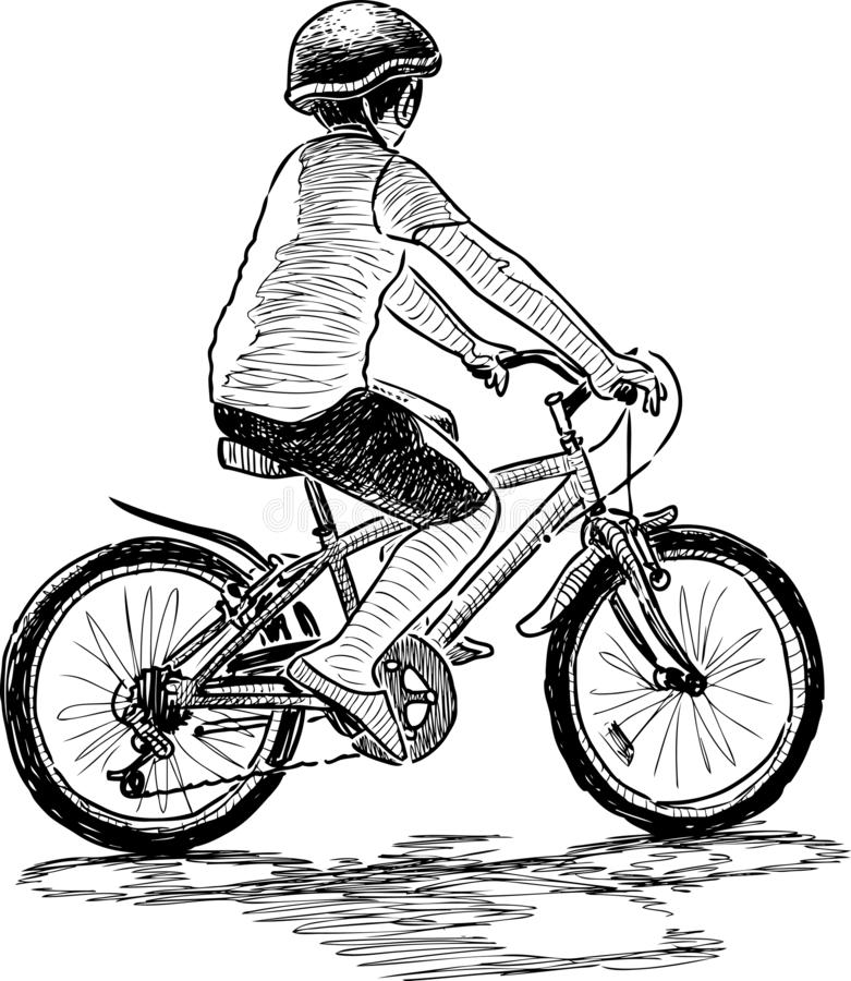 Een kleine jongen berijdt een fiets royalty-vrije illustratie