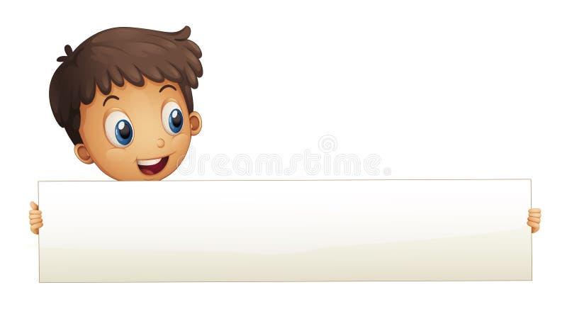 Een kleine jongen die een lege banner houden stock illustratie