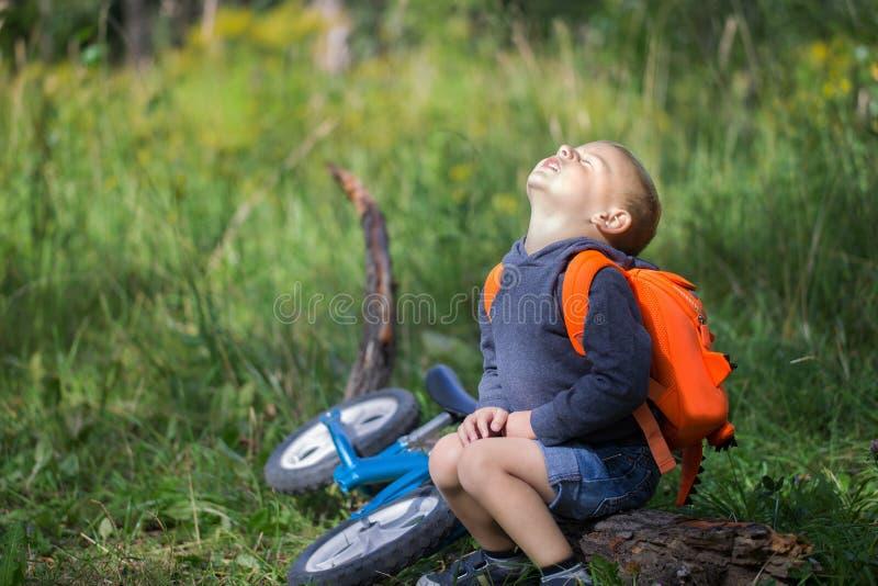 Een kleine jongen rust op een logboek na het lopen royalty-vrije stock foto's