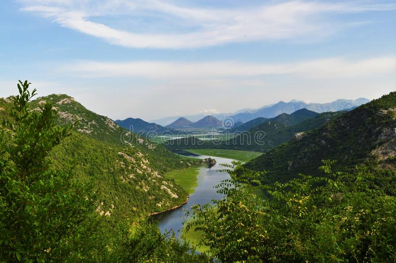 Een kleine mening van Skadar-Meer Nationaal park - Montenegro stock foto