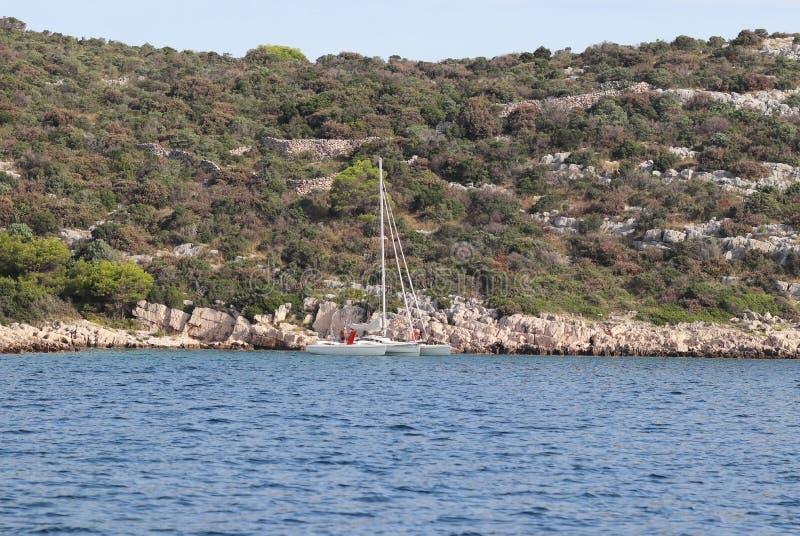 Een kleine varende trimaran op de achtergrond van de steenachtige kust van Kroatische Riviera Het groene eiland van het Adriatisc royalty-vrije stock foto's