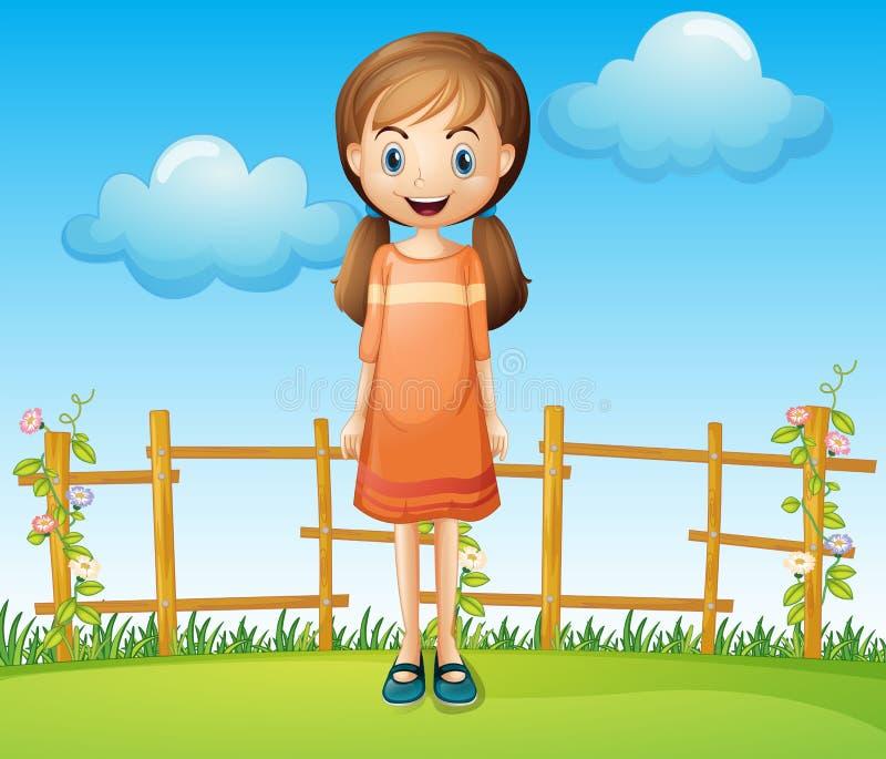 Een kleine vrouw die zich dichtbij de houten omheining bevinden vector illustratie