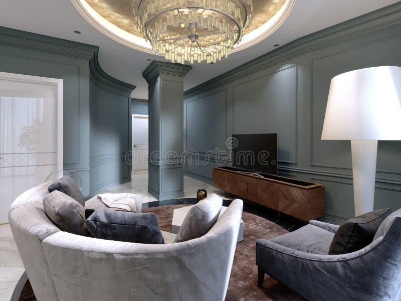 Een kleine woonkamer met een halfronde bank en een comfortabele leunstoel dichtbij TV bevinden zich Het binnenlandse ontwerp van  stock illustratie