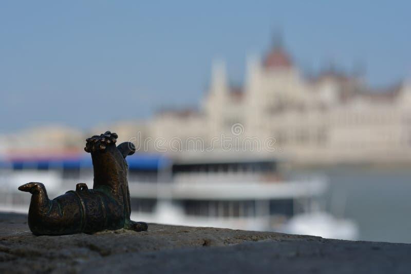 Een kleine worm die op Boedapest let stock afbeelding