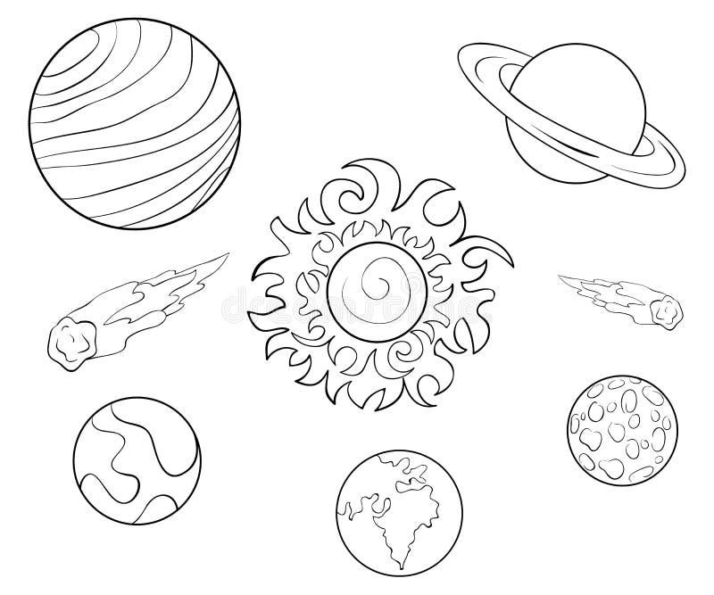 Een kleurende pagina, boekt een reeks van het beeld van planetenpictogrammen voor kinderen Lijn Art Style Illustration vector illustratie