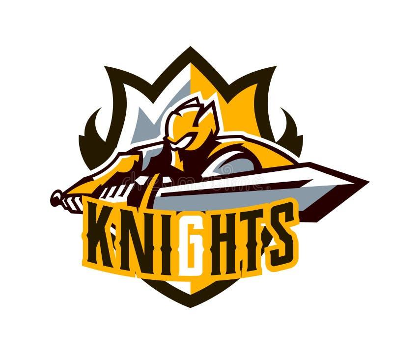 Een kleurrijk embleem, een sticker, een embleem, een ridder valt met een zwaard aan Gouden pantser van de ridder, voorvechter, zw vector illustratie