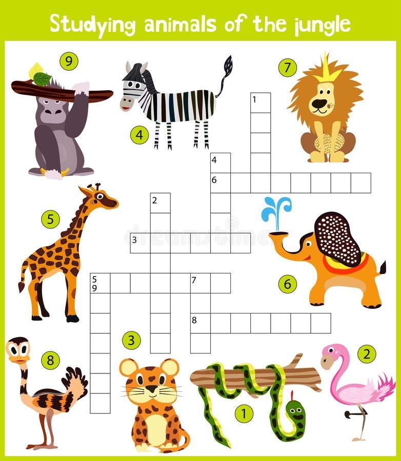 Een kleurrijk het beeldverhaalkruiswoordraadsel van kinderen, onderwijsspel voor kinderen op het thema van de studie van wilde di stock illustratie