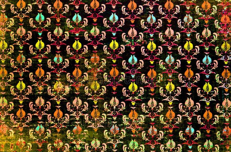 Een kleurrijk het damastbehang van het herhalingspatroon royalty-vrije stock afbeelding