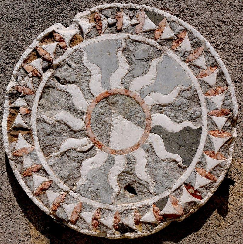 Een kleurrijk Roman geometrisch mozaïek royalty-vrije stock afbeelding