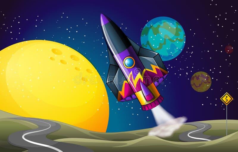 Een kleurrijk vliegtuig dichtbij de maan vector illustratie