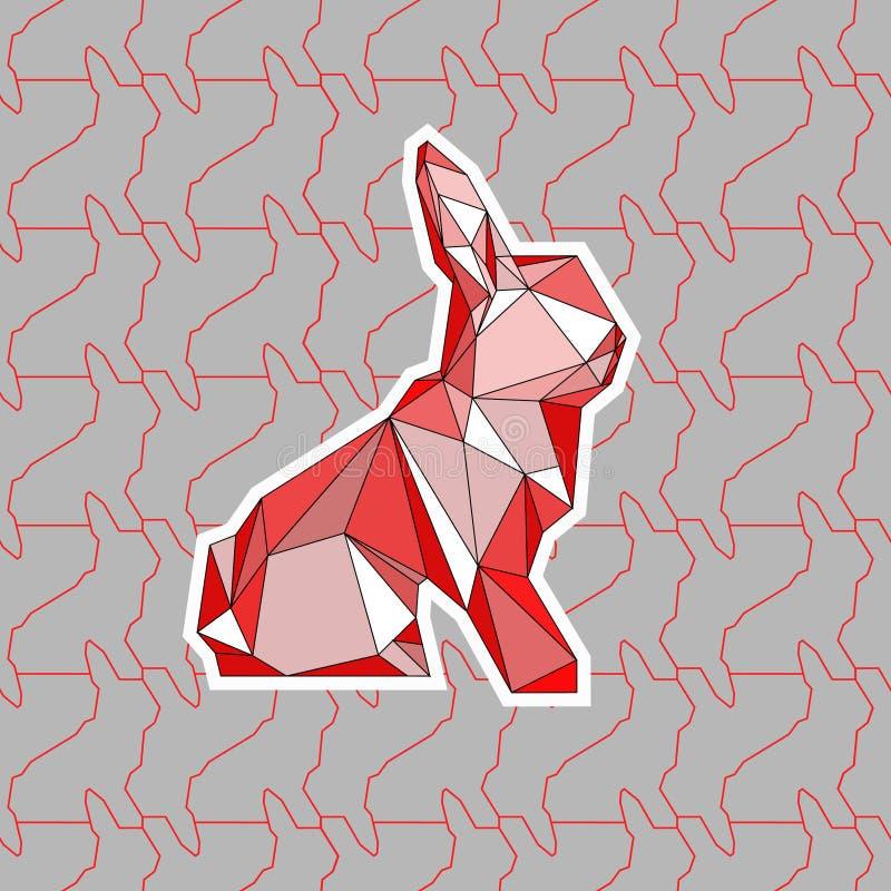 Een kleurrijke illustratie van poligonalkonijn stock foto
