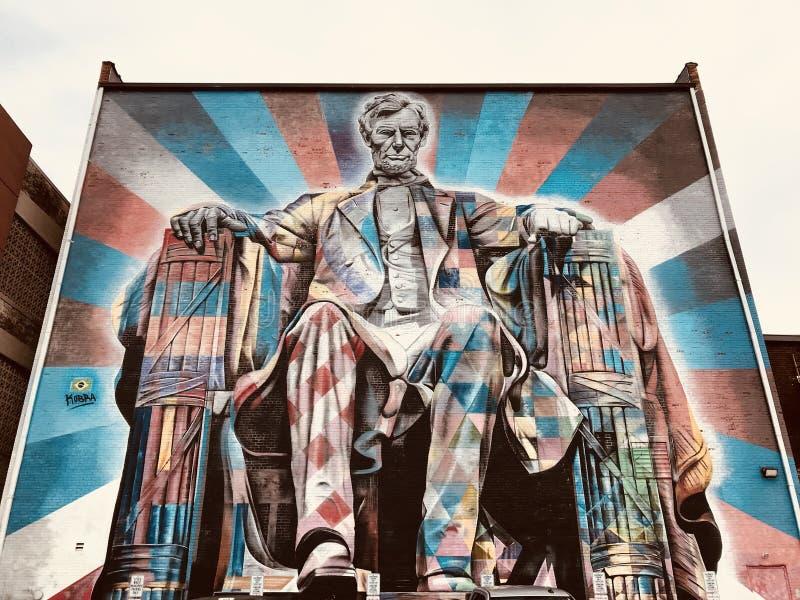 Een kleurrijke muurschildering van Abraham Lincoln - LEXINGTON - KENTUCKY royalty-vrije stock afbeelding