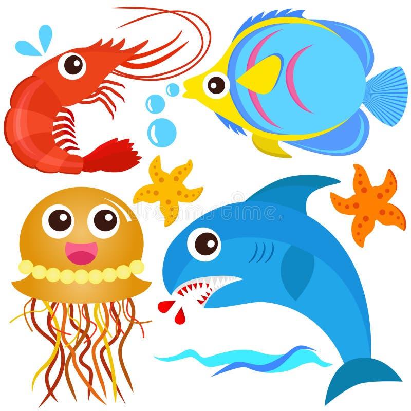 Een kleurrijke reeks van sealife stock illustratie