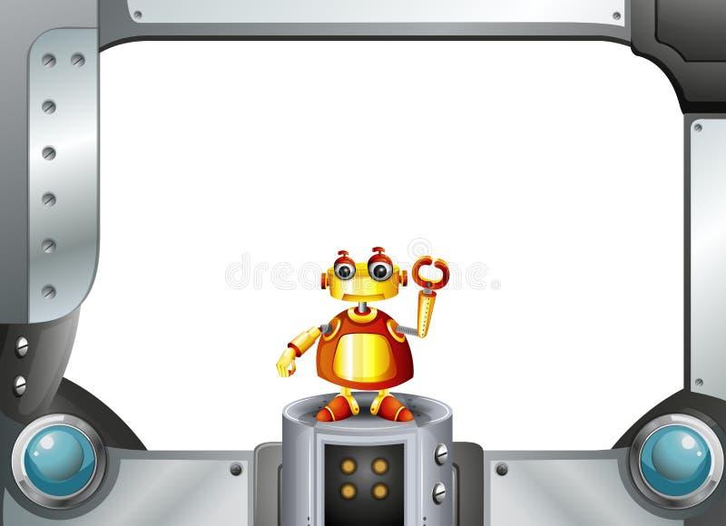 Een kleurrijke robot in het midden van het lege kader stock illustratie
