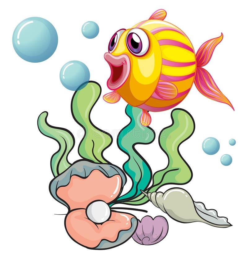 Een kleurrijke vis onder het overzees met shells royalty-vrije illustratie