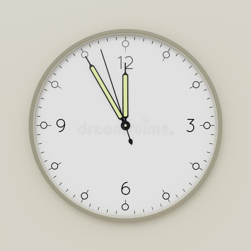 een klok toont vijf minuten aan middag vector illustratie