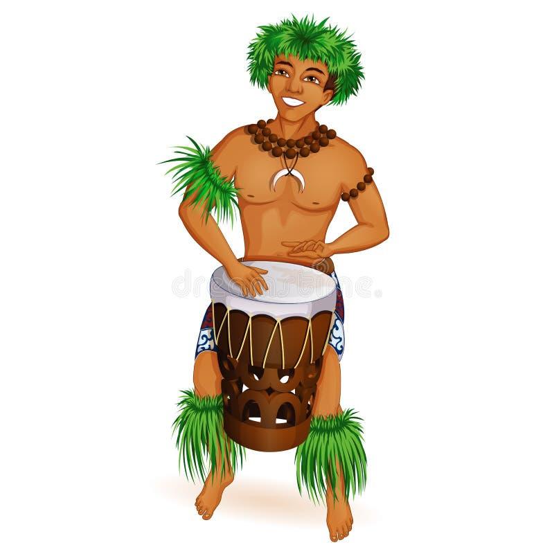 Een knappe jonge mens is een Hawaiiaan, danser Hula met een trommel in nationale kleren Vakantie in de Hawaiiaanse Eilanden vector illustratie