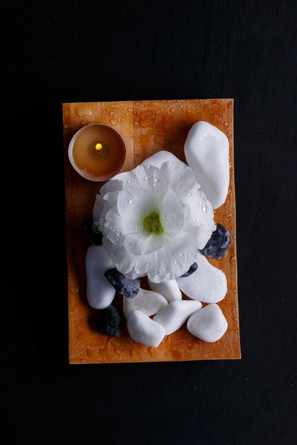 Een knop van bloem, een brandende kaars en een kiezelsteen, voor kuuroordbehandelingen op een houten raad stock foto