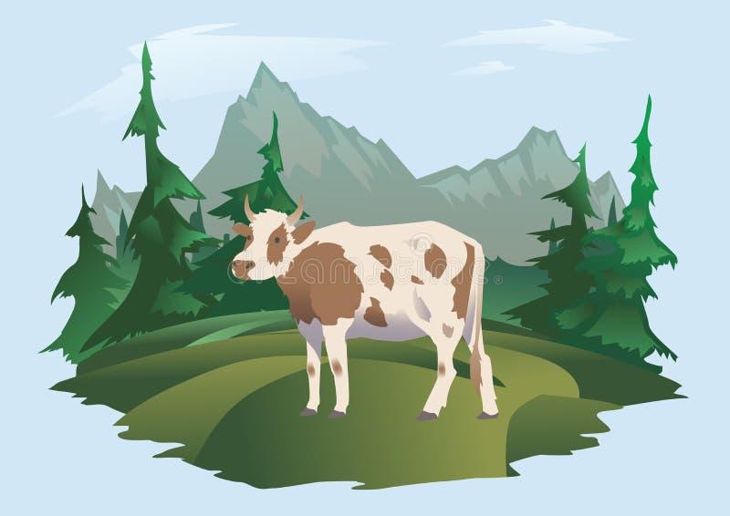 Een koe die in een weide, Alpien landschap weiden Vectorillustratie voor verpakking van melk of zuivelproducten royalty-vrije illustratie