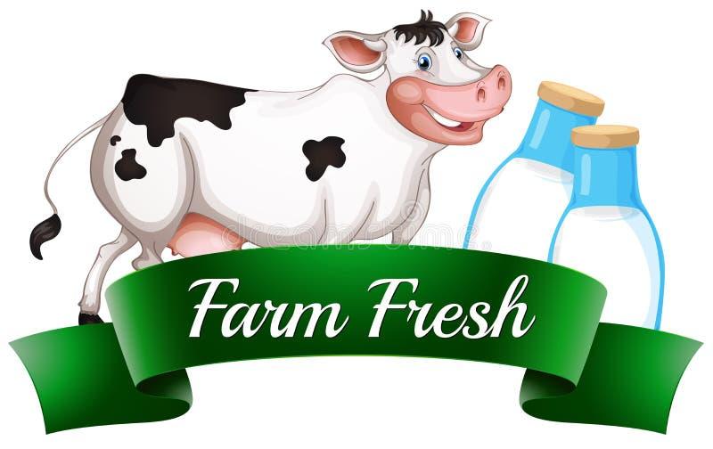 Een koe met een landbouwbedrijf vers etiket stock illustratie