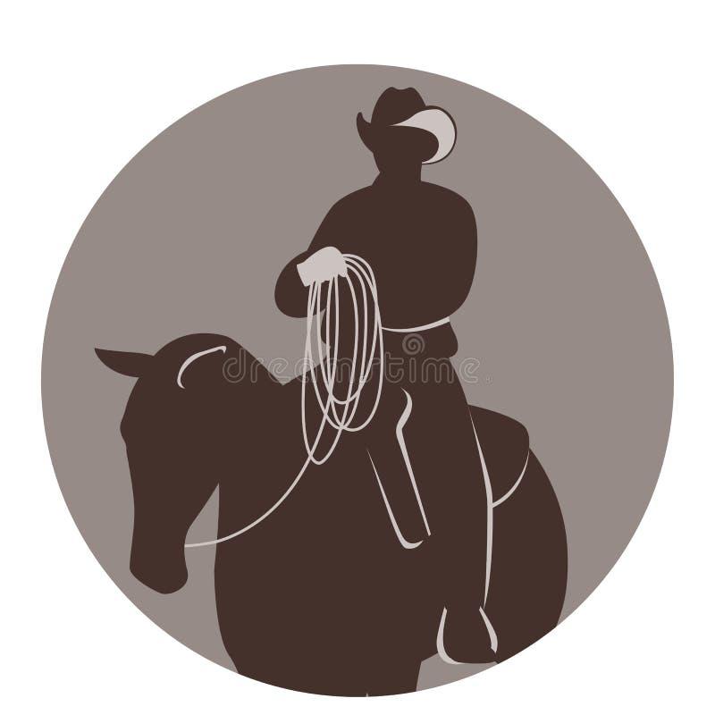 Een koejongen op een paard, vectorillustratie, vlakke stijl, royalty-vrije stock afbeeldingen
