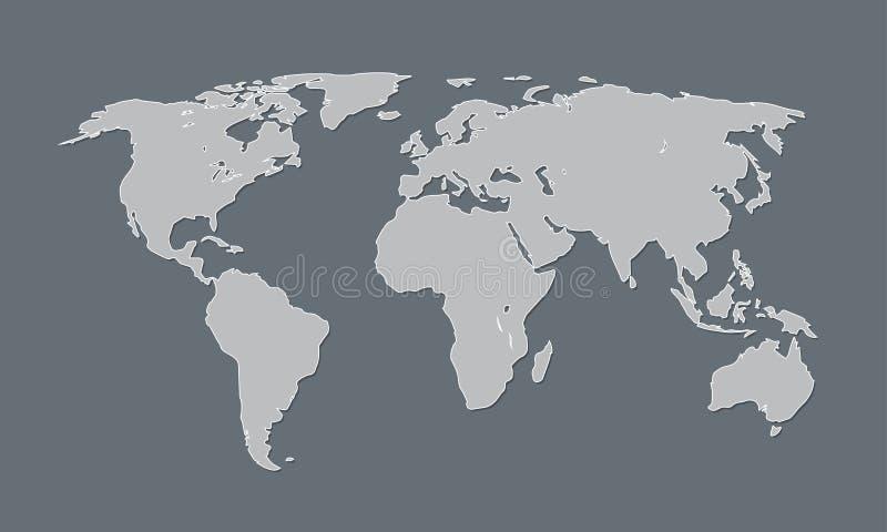 Een koele en eenvoudige wereldkaart van zwart-witte kleur met continenten royalty-vrije illustratie