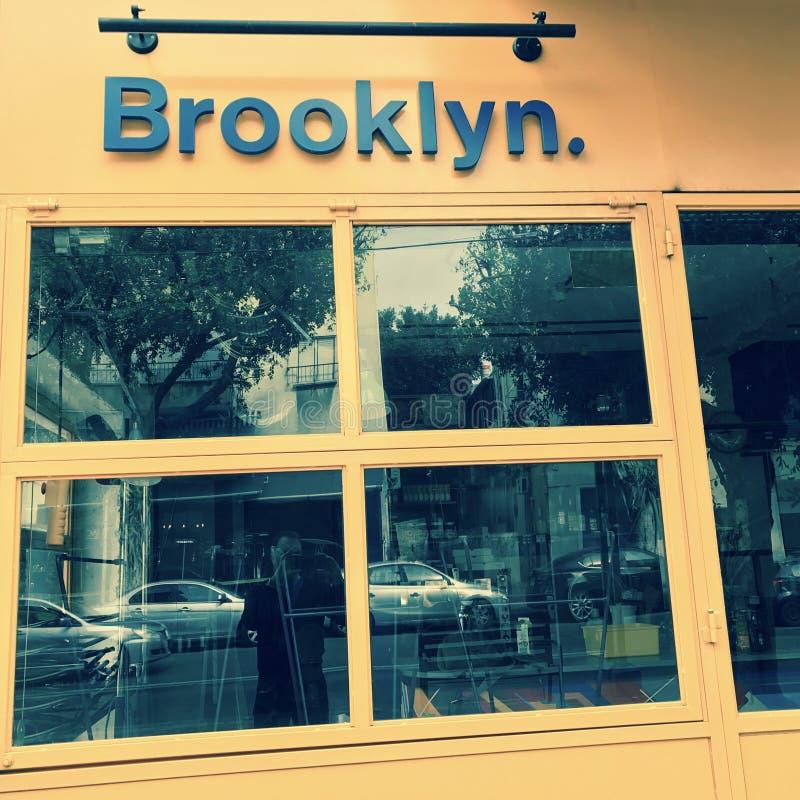 Een koffie in Tel Aviv heeft een Motief van Brooklyn - ISRAËL royalty-vrije stock foto's