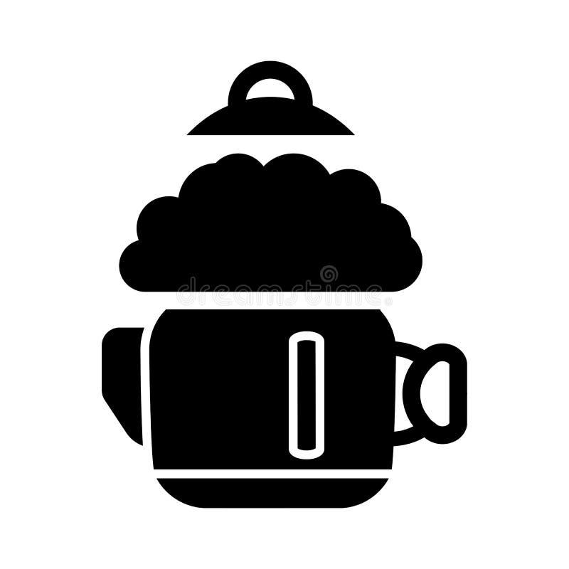 Een kokende ketel en een stoom Op een witte achtergrond vector illustratie