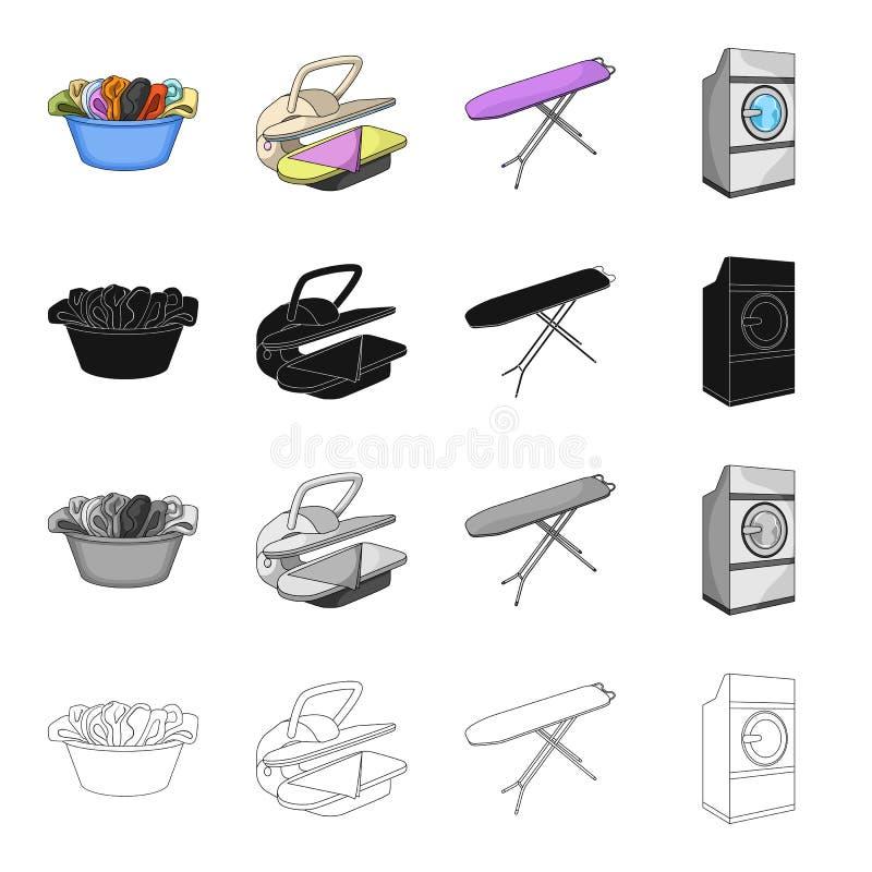 Een kom met wasserij, het strijken machine, wasmachine, strijkplank Wassende en schoonmakende vastgestelde inzamelingspictogramme stock illustratie