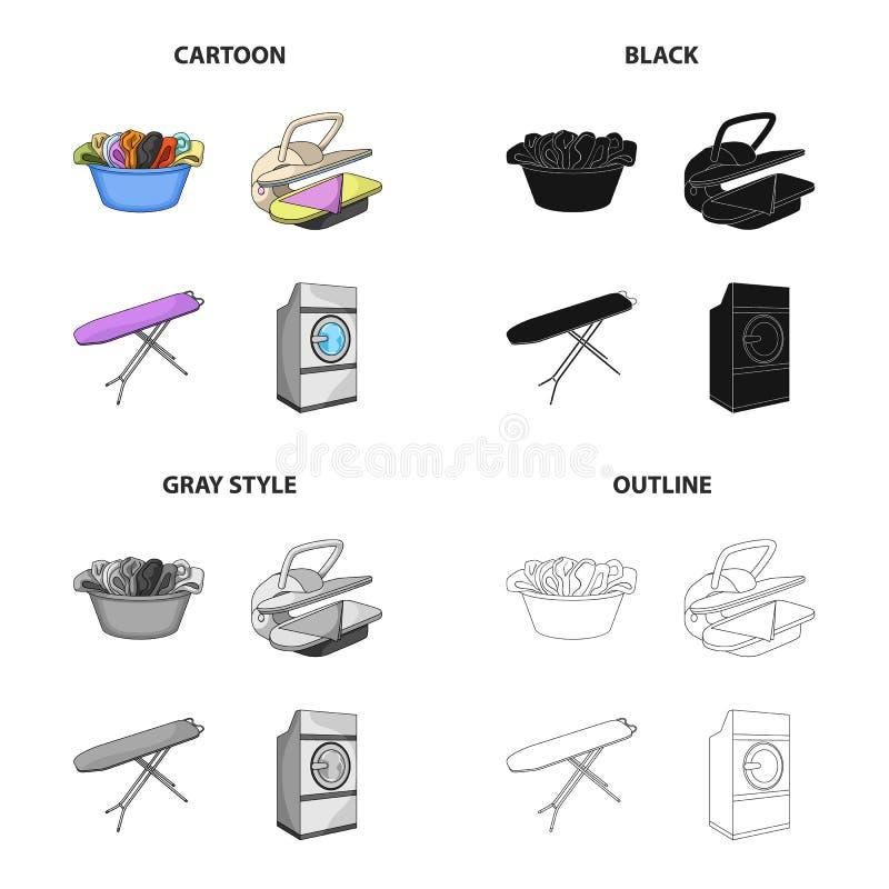 Een kom met wasserij, het strijken machine, wasmachine, strijkplank Wassende en schoonmakende vastgestelde inzamelingspictogramme vector illustratie