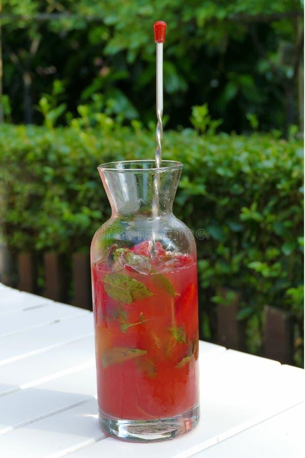 Een kom natuurlijke limonade maakte van aardbeien en munt stock foto