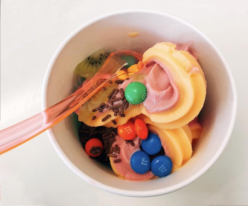 Een kom smakelijke bevroren yoghurt met chocolade en vruchten royalty-vrije stock foto