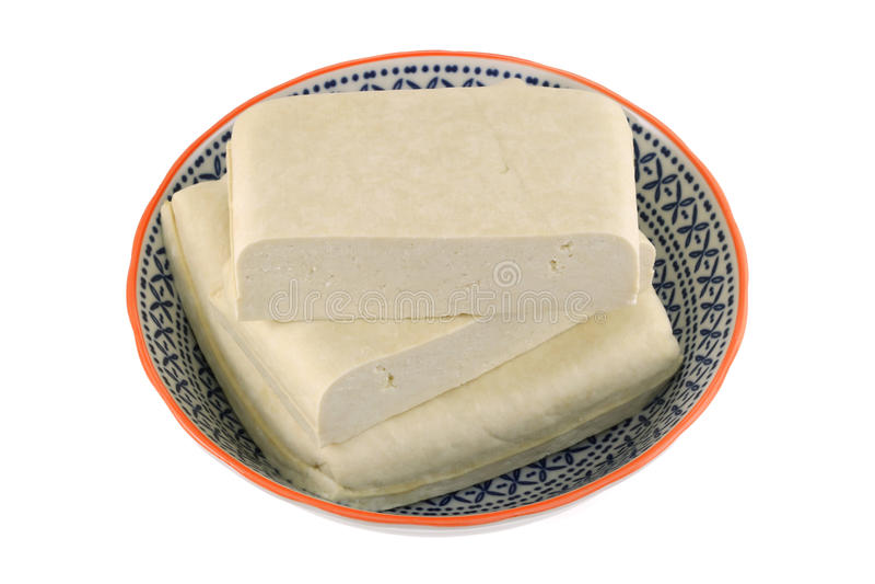 Een kom van vers Wit Bean Curd (Vaste Tofu) stock afbeelding