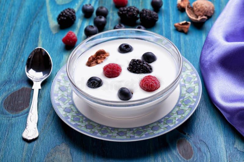 Een kom yoghurt met bosbessenredcurrants braambessen en okkernoten stock afbeelding